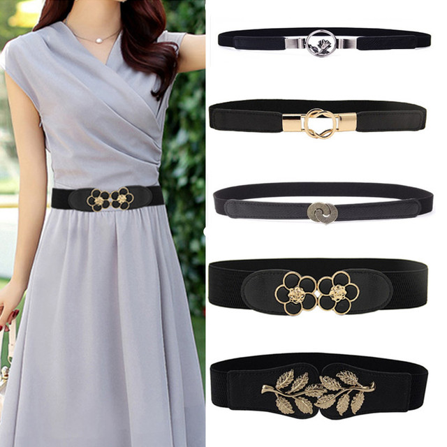 Women Elastic belt HOT black Waistband wide Elegant gold buckle Cummerbunds for women dress cinto wedding cummerbunds coat lady