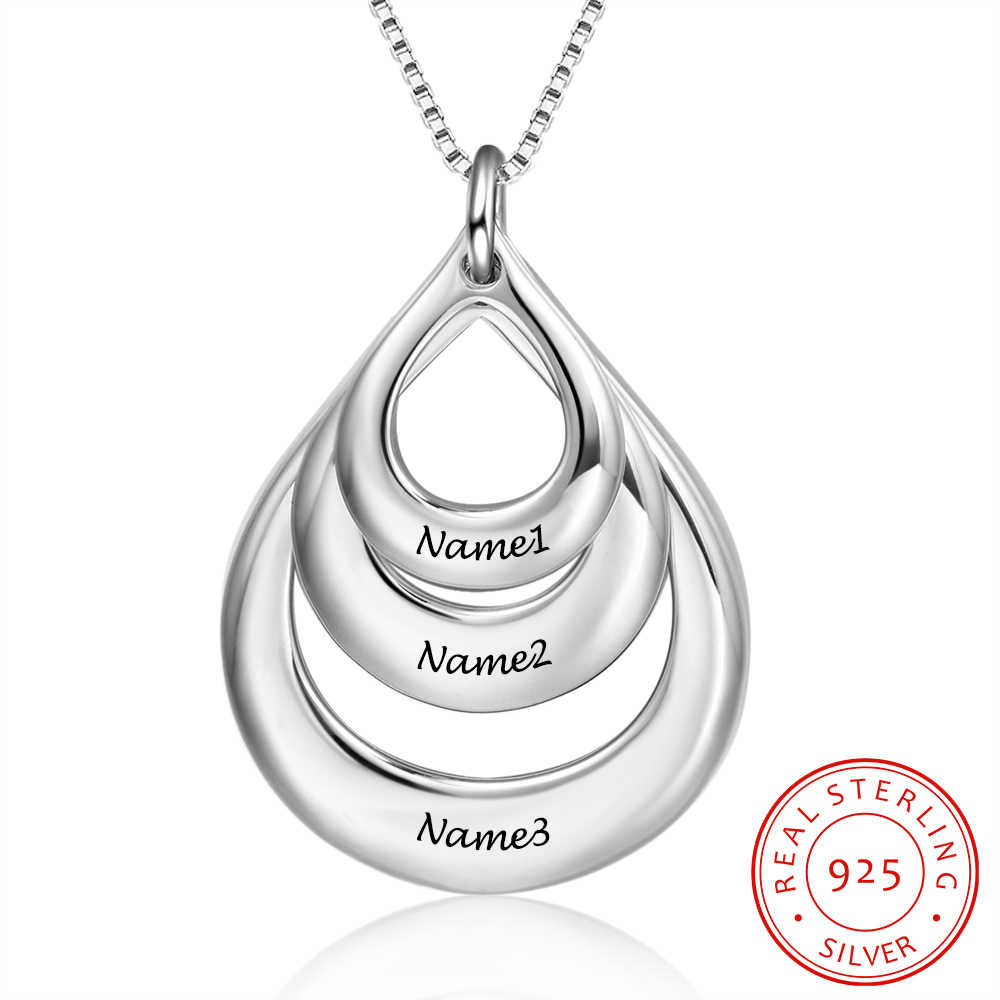 925 Sterling Silver Necklace Personalize Fashion Jewelry Superimpose Hollow Pendant Engrave 3 Names Necklace for Women(NE102377)