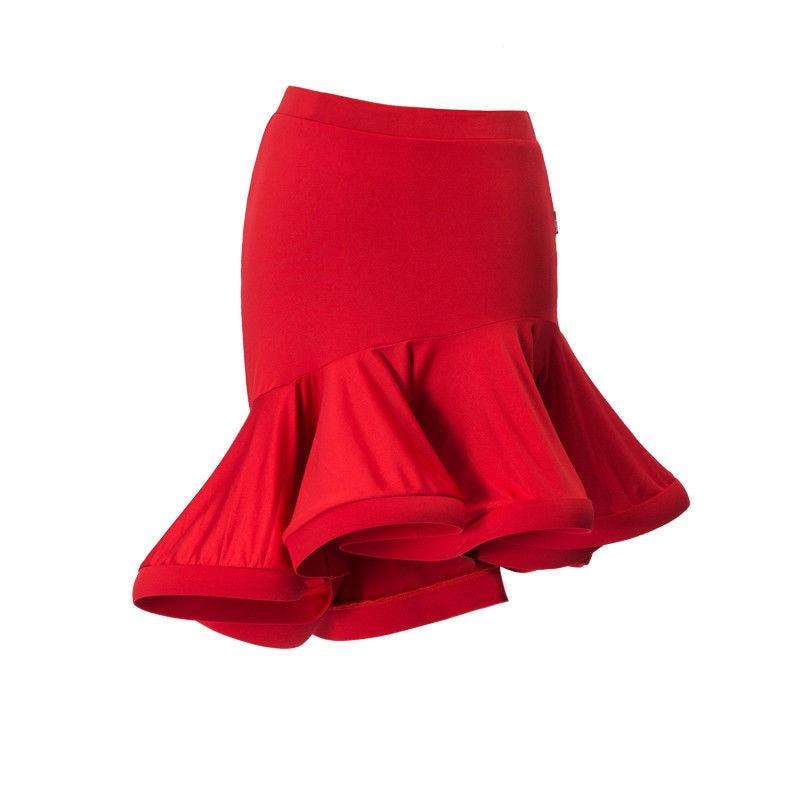 Women Skirt For Latin Salsa Tango Rumba ChaCha Ballroom Dance Skirts Black Red High Waist Irregular Costume Bodycon Ruffle Skirt