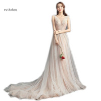 ruthshen 2018 New Arrival Elegant Prom Dresses A line Sleeveless Pleats Special Occasion Party Gowns 2018 Hot Sell