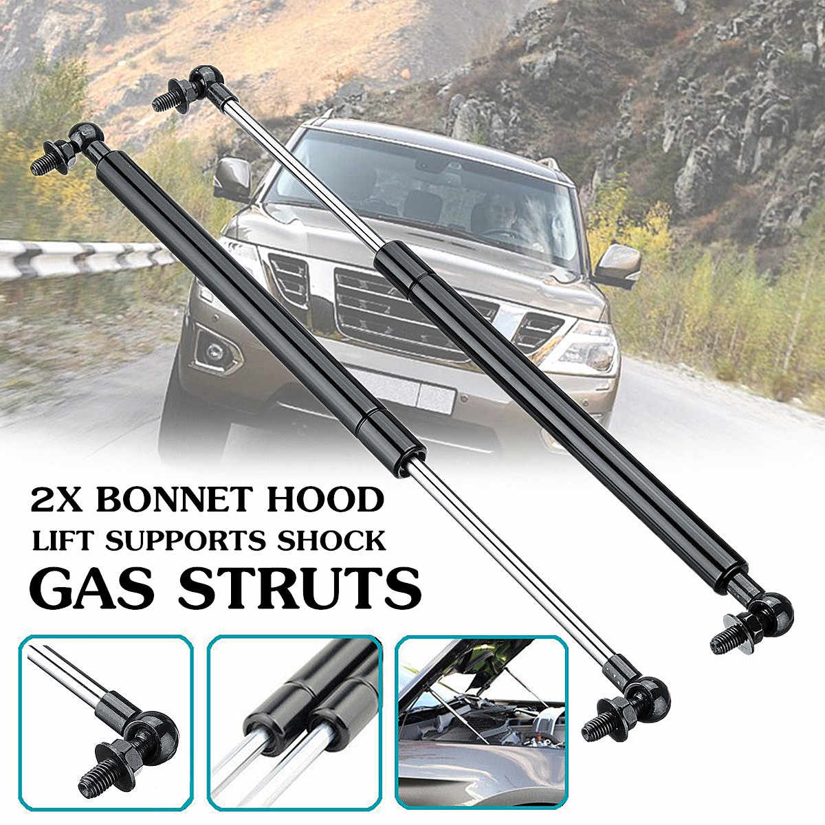 SYUN 2Pcs 340Mm Caravan Motorhome Bonnet Hood Support Gas Strut for Seitz Dometic Heki 2 E015