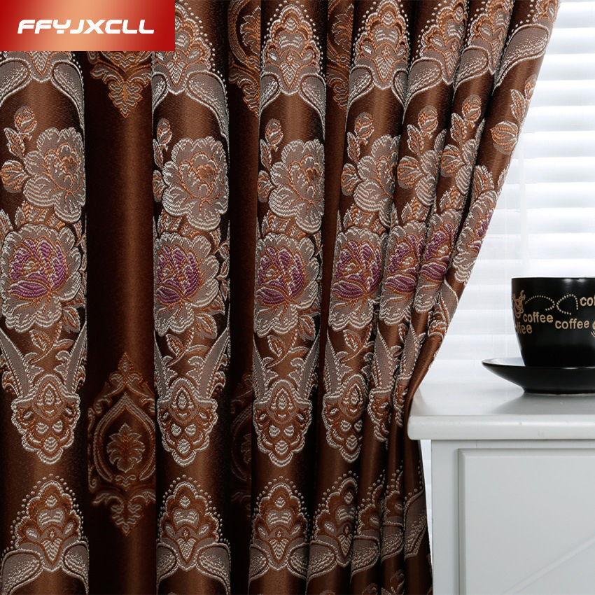 Exquisite Europe Polyester Cotton Jacquard Window Curtain For living Room Bedroom (70%-90%) Blackout Curtain