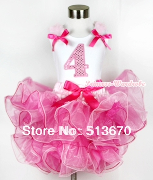 Hot Light Pink 8 Layered Pettiskirt Pink Sparkle Number Ruffle Pink Bow Top MAMG585