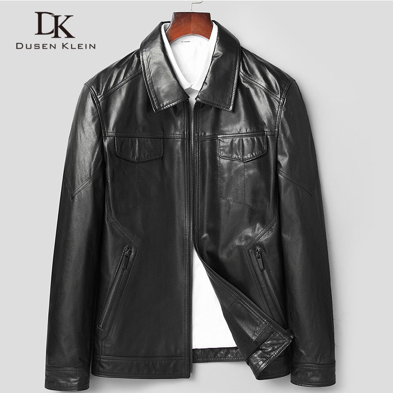 Men Genuine Leather Jacket Real Sheepskin Leather Jackets For Man 2019 Spring New Designer Brand Pockets 5XL Casual 81y8107