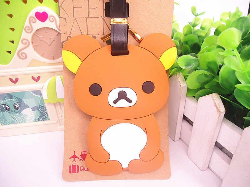 2018 New Mala Luggage Tag Travel Accessories Pikachu Cartoon Series Pokemon Lazy Bear Silica Gel Tags Suitcase Label Wholesale