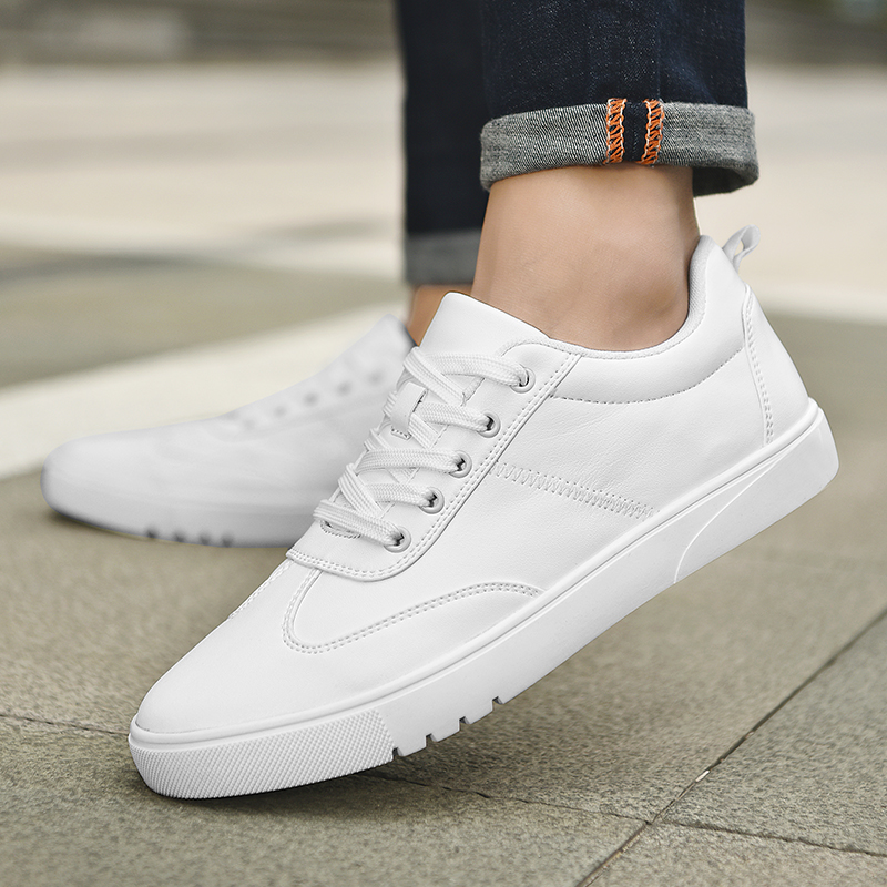 SUROM Brand Flats Men Shoes Black White Color Male Casual Sneakers Lace up Synthetic Leather Leisure