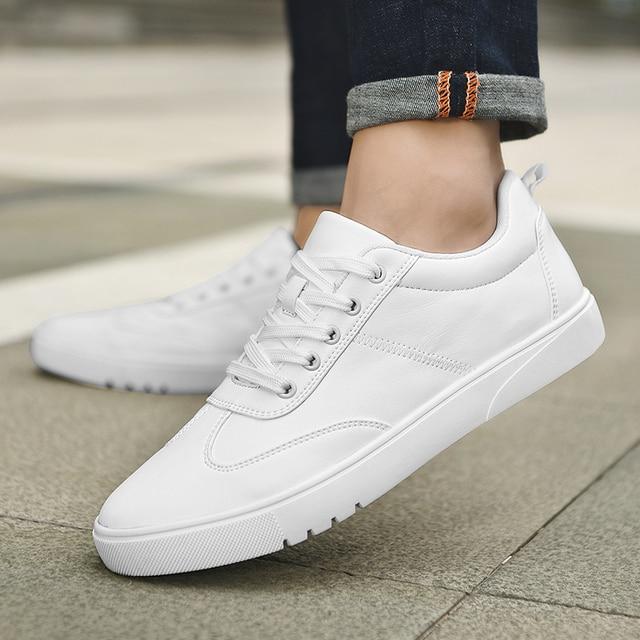 2024ebd9f97 SUROM Marca Flats Homens Sapatos Preto Branco Cor Masculino Tênis Casuais  Rendas até Sapato de Couro