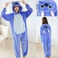 Azul ponto pijama onesie Traje Cosplay, lilo Ponto Animal Pijama Adulto Unissex Mulheres Homens Macacão Polar Fleece Uma peça femme
