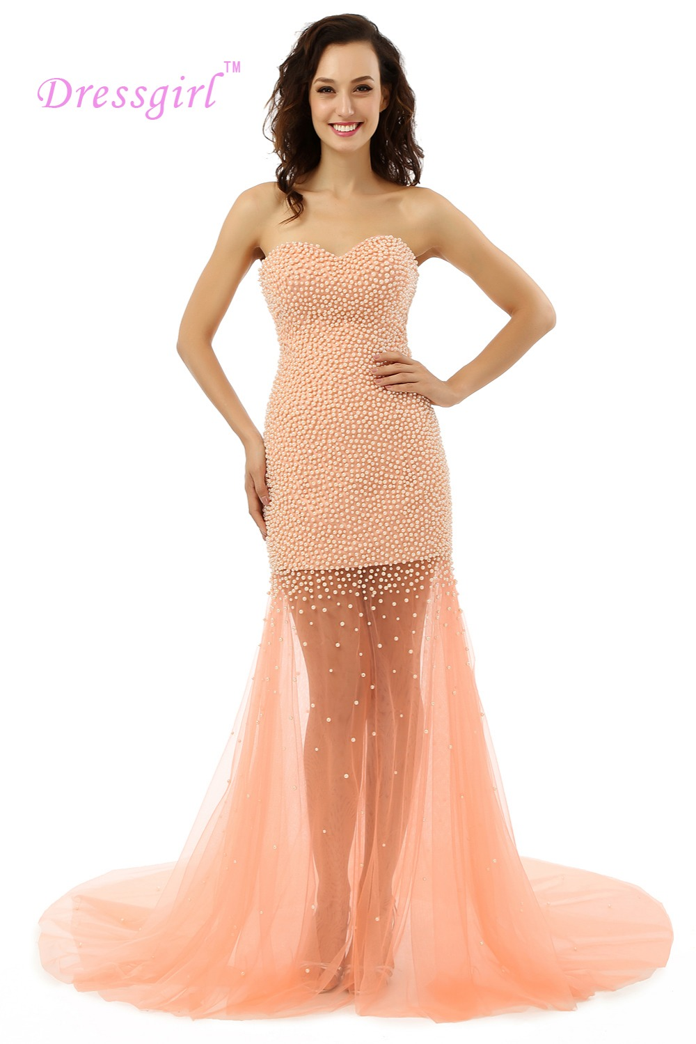 Dressgirl Coral 2017 Prom font b Dresses b font Mermaid Sweetheart Tulle See Through Pearls Prom
