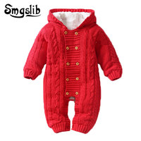 Warm Infant Winter baby clothes knitted romper Newborn Baby Boy Girl Sweater Jumpsuit Hooded Kid Toddler Outerwear Climbing