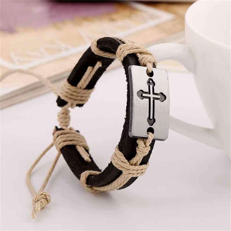 100% Genuine Leather Male Bracelet Metal Cross Retro Hemp Rope Punk Cuff Bangle Single Buckle Belt Bracelet Pulseras Hombre