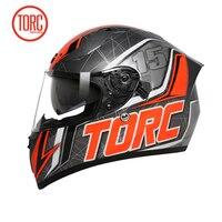 TORC T18 Double Lens Full Face Motorcycle Helmet DOT ECE Approved Aerodynamic Design Moto Helmet