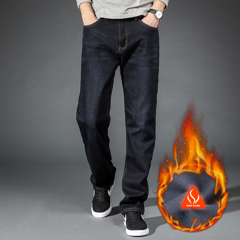 2020 Winter Warm Men's   Jeans   Thick Stretch Denim   Jeans   Straight Fit Trousers Male Cotton Pants Men Large Size40 42 44