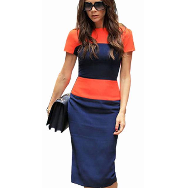 Women Fashion Stripe Dress Casual Elegant Business Sheath Patchwork Pencil Back Zipper