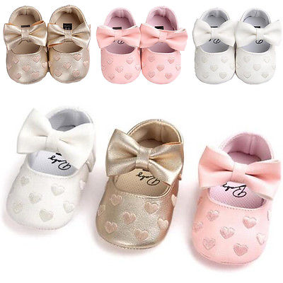 Baby Girls Ballet Dress Shoes Toddler Infant Prewalker Soft Sole PU Leather Mary Jane Party Princess Moccasins Crib Shoes 0-6months