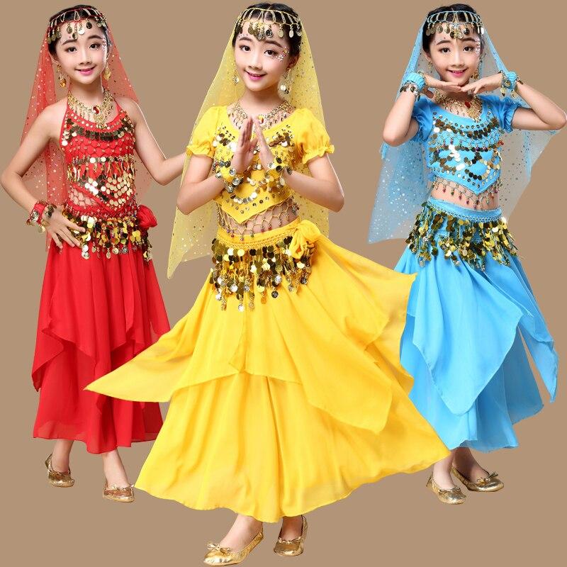 2017 nouvelles filles danse du ventre ensembles danse vêtements qualité indien Sari filles robe Orientale Costumes indiens pour les enfants