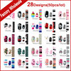 28Designs 50pcs New Nail Art Stickers Decals Skull Flowers Nail Tips Decoration DIY Adhesive Nail Beauty