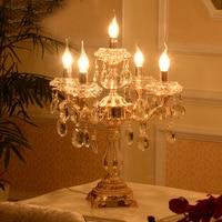 Led装飾テーブルランプ用リビングルームクリスタルテーブルランプクリスタル燭台ウェディング金属テーブルランプ用寝室ライ