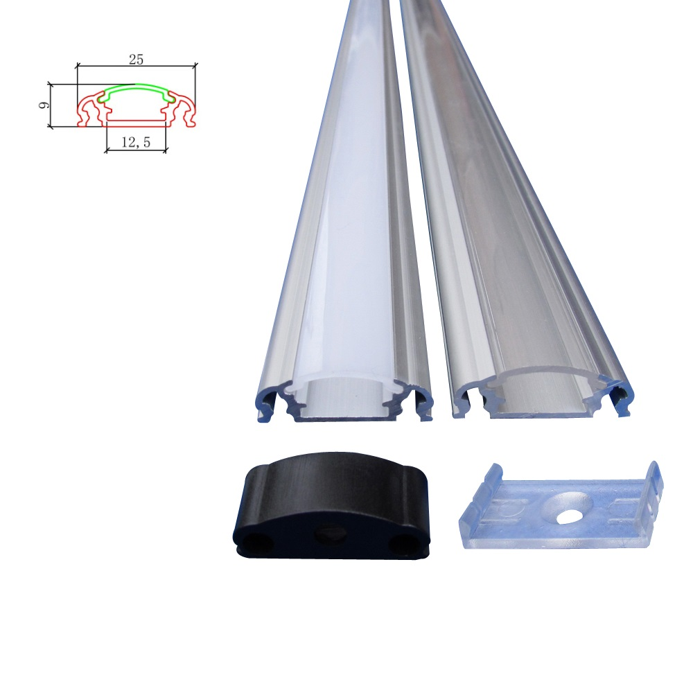 10packs x 2 5m Led channel U alu Alu profile led with diffuser mounting clips end