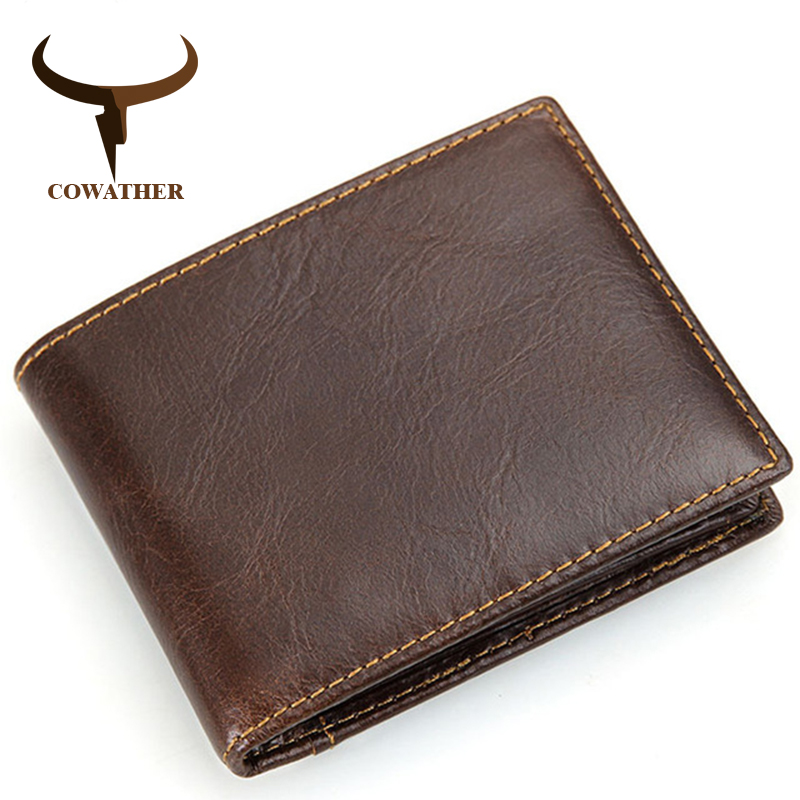 COWATHER 2017 100% top cow genuine leather wallets for men short style newest design leather male purse 8018 free shipping fabenson 100% top quality cow genuine leather men wallets fashion splice purse dollar price carteira masculina free shipping