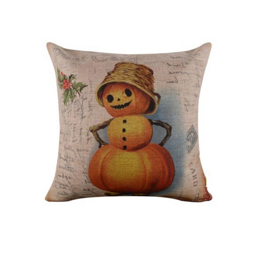 2017 Halloween So Hot New Design Pillow Case Waist Linen Blend Square Woven Snowman Soft Unfade Free Shipping, Aug 25