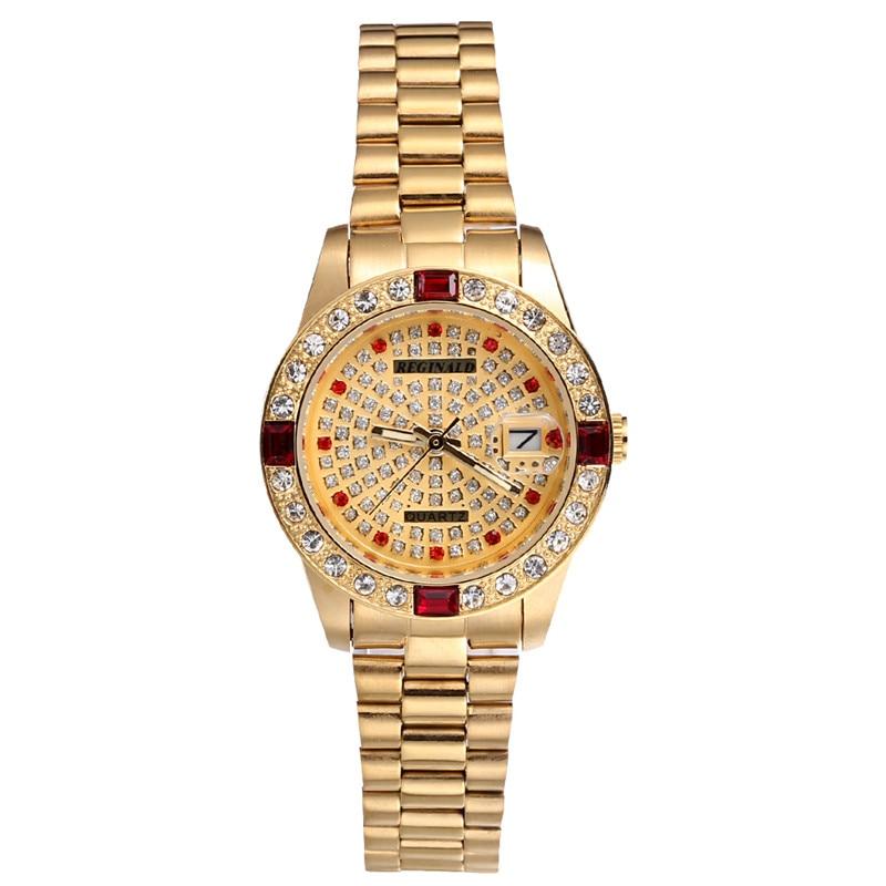 REGINALD Golden Lady Watch Date Crystal Styles Women's Dress Clock Water Proof Dress Wristwatch