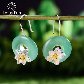 Lotus Fun Real 925 Sterling Silver Natural Gemstones Earrings Handmade Fine Jewelry Lotus Whispers Drop Earrings for Women Gift