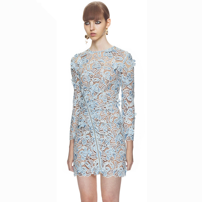 Us 2749 50 Offnew 2019 Self Portrait Spring Runway Women Mini Dress Blue Hollow Out Long Sleeve Zippers Sexy Bodycon Lace Dress Vestidos In