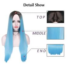 Wignee Ombre Blue Long Straight Hair Synthetic Wig For Women High Temperature Heat Resistant Daily/Party Game of Throne Full