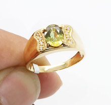 Man 18K gold Natural yellow sapphire ring Gemstone 1.4 ct Men Jewelry rings