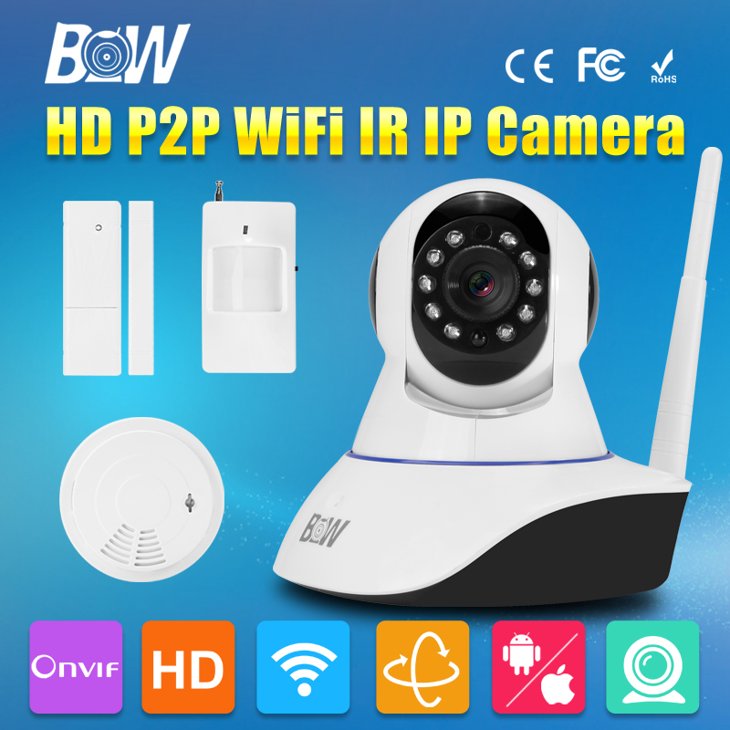 BW CCTV IP WiFi Wireless Camera P2P + Infrared Motion & Door Sensor + Smoke Detector Video Surveillance Security Camera IR-Cut bw wireless wifi door
