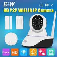BW CCTV IP WiFi Wireless Camera P2P + Infrared Motion & Door Sensor + Smoke Detector Video Surveillance Security Camera IR-Cut