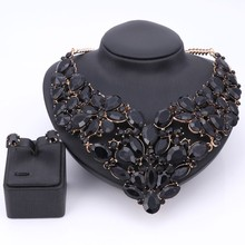 Luxury Wedding Bridal Accessories Statement Jewelry Sets For Women Black Rhinestones Crystal Necklace Earrings Holiday Party Set
