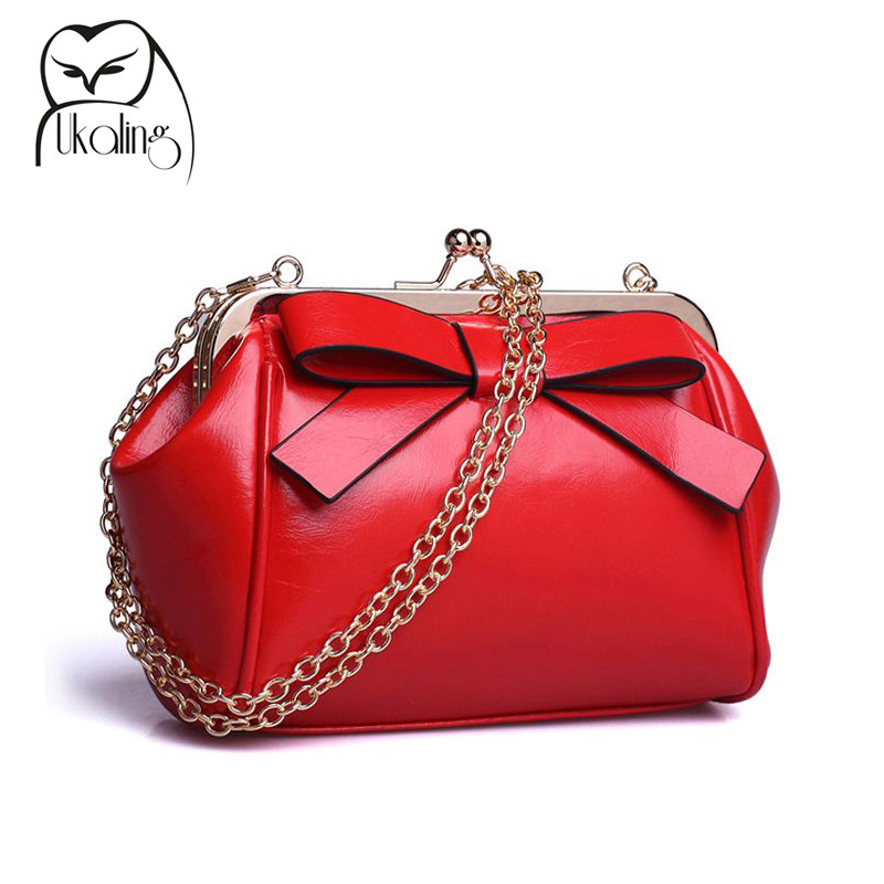 UKQLING Chain Bag Frame Women Messenger Bags with Bow Mini Purse Handbag Lady Clutches Candy Color Crossbody Small Bag Phone