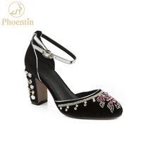 Phoentin Purple flower crystal shoes woman 2019 new arrival high wedding heels buckle size 33 designer shoes women luxury FT628