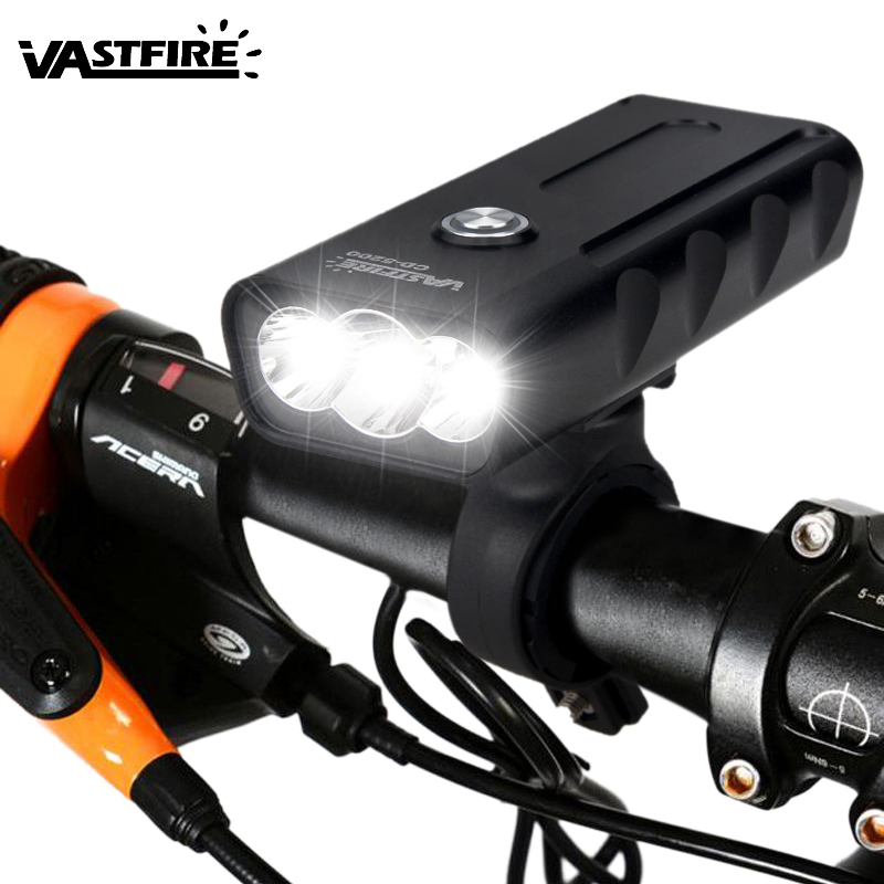 Front USB Bike Light 3 T6 LED Flashlight 3 Modes Cycling Lamp Safety Night Riding Light Camping Torch with Built in Battery in Bicycle Light from Sports Entertainment