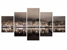 Fashion Top Wall Deocr Canvas Painting 5 Pcs Modern view of the city  Printed Oil Pictures Living Room Frame or No