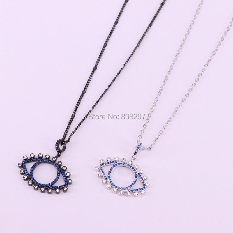 10Pcs high quality gold rose gold silver black metal micro pave crystal blue cz eye pendant fashion chain necklace-in Chain Necklaces from Jewelry & Accessories    3