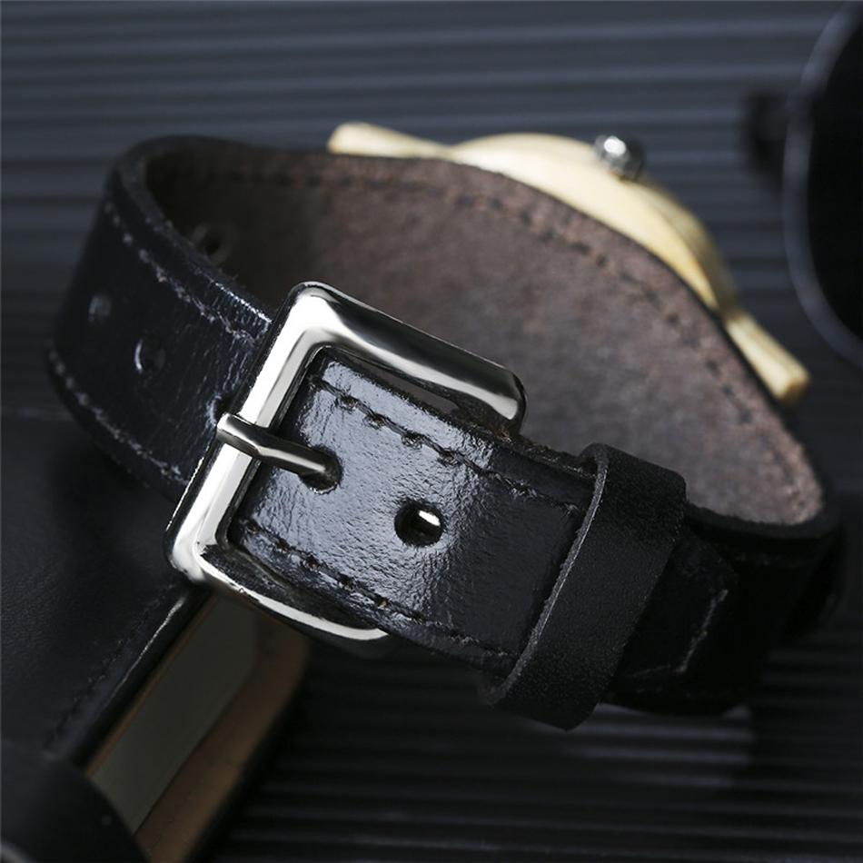 YISUYA Deer Wooden Watch Men's Bamboo Leather Wood Quartz Watches Gift relogio de madeira (1)