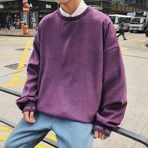 Image 2 - 2020 корейский стиль мужской пуловер с вышивкой в виде букв пальто свободные толстовки хлопковые повседневные однотонные толстовки M XL