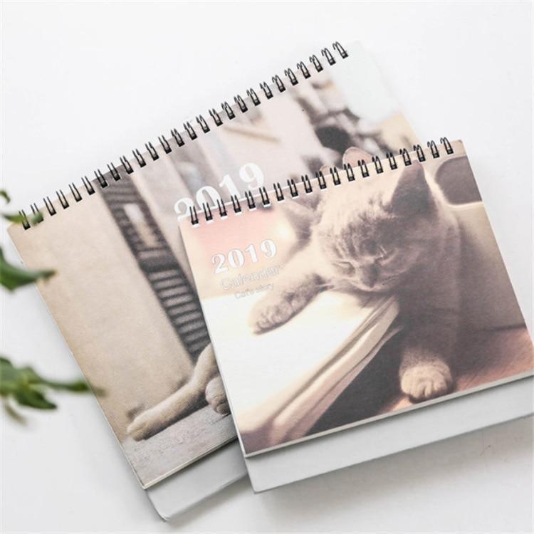 Kalender 17*16 Cm Kreative Schreibtisch Stehenden Papier Organizer 2019 Jahr Kawaii Cartoon Katze Kalender Zeitplan Planer Notebook
