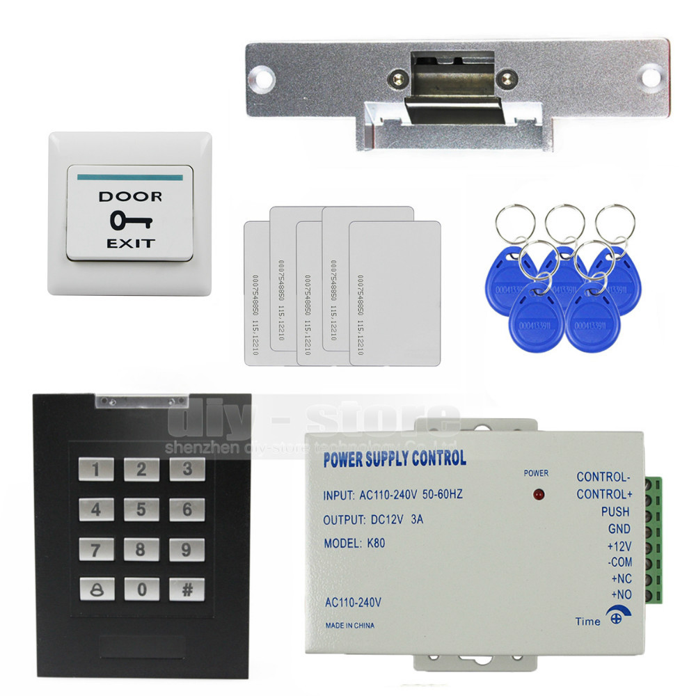 DIYSECUR RFID 125KHz Keypad Access Control Security System Kit + Electric Strike Door Lock + ID Cards Key Fobs diysecur 125khz rfid metal case keypad door access control security system kit electric strike lock power supply 7612