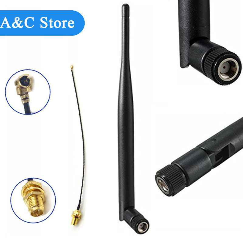 5dBi WiFi 2.4g Antenna Aerial RP-SMA Male Wireless Router +21cm PCI U.FL IPX To RP SMA Male Pigtail Cable 50pcs/lot