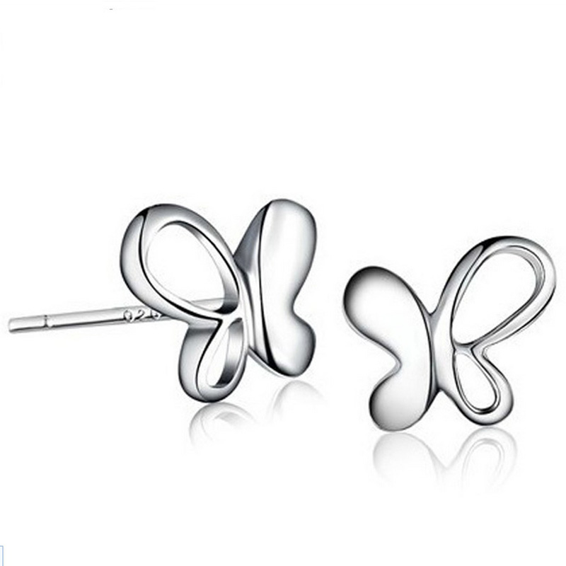 Wholesale Fashion Jewelry Silver Plated Plated Butterfly Shape Ear Stud Earrings Ear Ring Pendant ED13