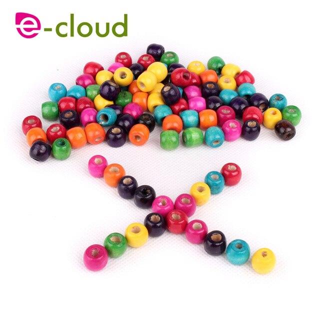 Купить 100 шт/лот 5 мм разноцветные круглые деревянные бусины dread картинки