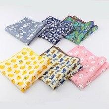 Men's Sunny Style Cotton Handkerchief Tartan Strip Duck Fish Rabbit Cat Pocket Square Hankies Towel Casual 23*23cm