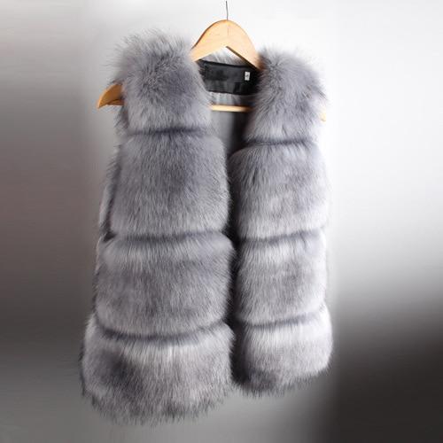 New 2016 Winter Coat Women Fur Vest Soft Fur High-Grade Faux Fur Coat Leisure Women Fox Fur Long Vest Plus Size:S-XXL etosell women faux fox fur shaggy waistcoat long hair lapel vest coat camel l