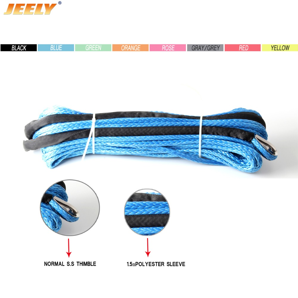 8mm 15meter 11684lbs UHMWPE Braid Synthetic Winch Rope with S S Thimble for ATV UTV SUV