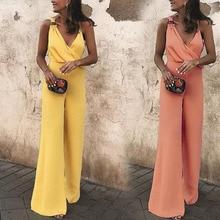 цены на one piece bandage jumpsuits for women 2019 elegantes body femme casual loose chiffon v neck suspenders wide leg jumpsuit  в интернет-магазинах