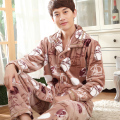 Fall Men thick coral velvet pajamas men's suits two-piece long-sleeved flannel XL tracksuit